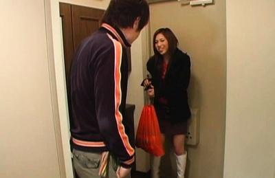 Sexy long legged Azusa Nagase receives a hot creampie