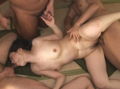 Hot Japanese model in a gangbang