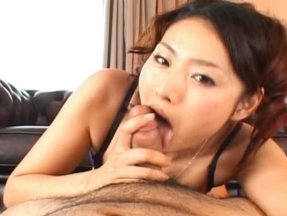 Risa Lovely Asian model gives a great blowjob