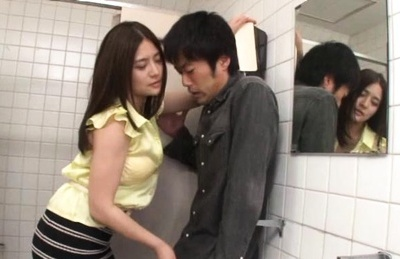 Horny Japanese MILF Meguri scores a cock in men�s room